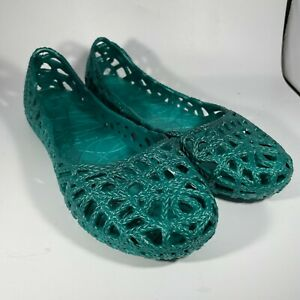 Mox Jelly Ballet Flats Shoes Green Women Size 9 41 Basket Weave Plastic