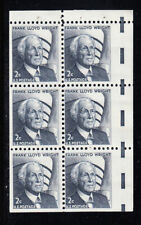 U.S. Mint NH Booklet Pane of 6  - 02c F. L. Wright - #1280c Miscut Error - Rare