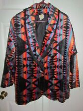 ASCENTE Sport Tribal Aztec ETHNIC Fringe Art To Wear Blazer JACKET VTG Sz L