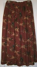 MINT & VINTAGE! BACK BAY Fox Hunt PRINT Fully LINED Skirt / Made in the USA ~ 10