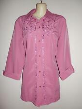 Anthony Richards Womens Top 12 / M / L Mauve Floral Embroidered Button Long Slv