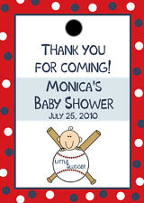 24 Personalized Baby Shower Favor Tags - Little Slugger