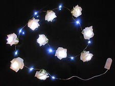 Rose Garland with LED Lights  Battery Operated 10 x  Ivory Roses 1.5 Metres Long