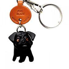 Pug Black Handmade 3D Leather Dog Keychain *VANCA* Keyring Made in Japan #56752