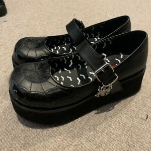 demonia shoes spider web mary jane platform chunky shoes size us 11