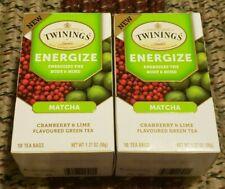 2 TWININGS ENERGIZE TEA MATCHA CRANBERRY & LIME FLAVORED GREEN TEA 18 BAGS IN EA