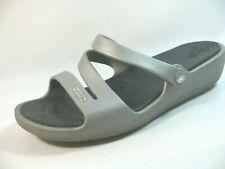 Women's Crocs Shoes Size 8 Comfort Gray Slipon FlipFlops Throngs Sandals L21