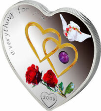 "PALAU $ 5 2009"" EVERYTHING FOR YOU "" SILVER HEART WITH RED PEARL rare"