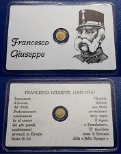 PICCOLA MEDAGLIA ORO 1 CENTIMETRO  FRANCESCO GIUSEPPE SIGILLATA FDC GOLD