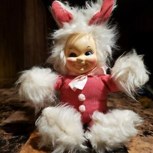 """Super Rare Baby As Bunny Rushton Company Rubber Faced Doll 11"""" Cute Very Clean"""