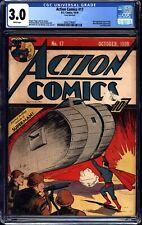 Action Comics #17 CGC 3.0 DC 1939 6th Superman Cover! WHITE Pages! M7 207 cm
