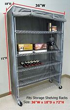 """Storage Shelving unit cover, fits racks 36""""Wx18""""Dx72""""H (Cover Only Grey color)"""