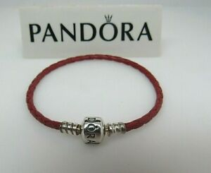 Pandora Large Red Leather 8.1 in 21 CM Bracelet 590705CRD-3 Christmas Rare