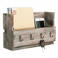 Rustic Torched Wood Wall Mounted Mail Holder Organizer with 4 Key Hooks