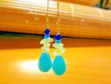 Ice Amazonite Earrings Dangle Big Teardrop Blue Sapphire Threader Earrrings