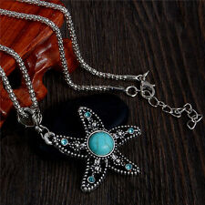 Cute Starfish Lady Turquoise Stone Crystal Vintage Women Sweater Chain Necklace