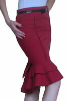 Skirt Ladies Womens Bodycon Plain Stretch Pencil Midi New Size 8 10 12 14 16 18