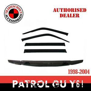 Bonnet Protector , Window Visors Weather shield For Nissan Patrol GU Y61 1998-04