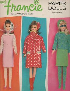 1966 Meet Francie Paper Dolls & clothing in package. Barbie's Modern Cousin