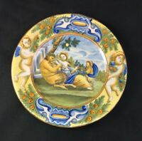 "🔷 Antique Castelli Italy 8 1/8"" Plate Charger Faience Majolica Maiolica 1 of 3"