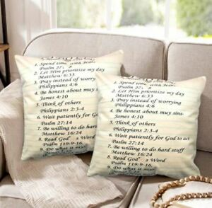 16 x 16 Inches Decorative Square Throw Pillow Case (To Do List) Set of 2