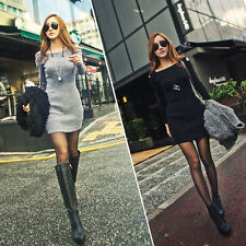 Sexy Women Lady Autumn Winter Long Sleeve Knit Sweater Bodycon Party Mini Dress