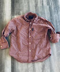 Abercrombie Kids Plaid Button Down Shirt Small Vtg Red Orange