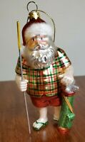 Santa Claus Golf Golfing Glass Christmas Ornament With Clubs Hole In One