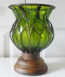 "New Pacific Rim Round Emerald Green Decorative Glass Wood Pedestal Vase 8.25"" H"