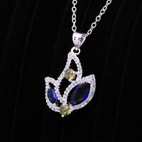 Antique Style 925 Sterling Silver Filled Flower Pendant Necklace With Zircon