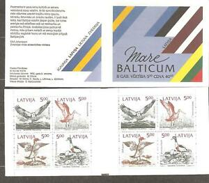 Latvia: booklet of mint stamps 1993, birds, joint issue, Mi#340-343, MNH.