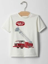 New Baby Gap Boys Red Fire Truck Here To Help Top Graphic Tee Top 3T NWT White