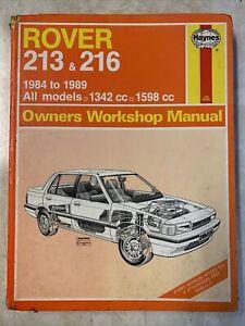 Rover 213/216 Haynes Manual 84-89 1342cc 1598cc