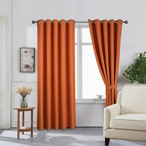 """Burnt Orange Eyelet Curtains 52"""" x 63"""" Light Blocking Blackout Matching Tiebacks"""