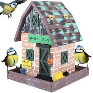 VOGELFUTTERHAUS GENERAL STORE BLAU | Vogelhaus Futterhaus Vogelvilla Holz hängen