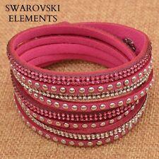 Bracelet multirangées cuir souple  Swarovski® Elements  ajustable rose fushia