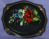 Vintage Soviet Russian hand painted serving tole plate tray