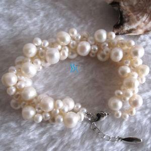 "7.5-8.5"" 21"" 4-9mm Freshwater Pearl Bracelet Necklace UK——MORE COLORS"
