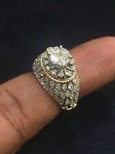 Pave 2,53 Cts Ronde Marquise Poire Couper Diamants Mariage Bague En 585 14K Or