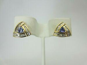 14k Yellow Gold Triangle Tanzanite and Diamond Earrings 1.00 ct TW