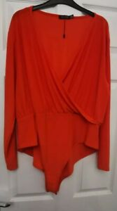 Red Long-Sleeved Body from Boohoo in size 22, Plus size women