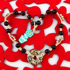HOTI Hemp Handmade Dalmatian Jasper Donut Healing Stone Wood Natural Necklace
