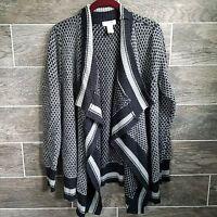 Kenar Women Open Front Waterfall Sweater Cardigan Long Sleeves Gray Sz Large