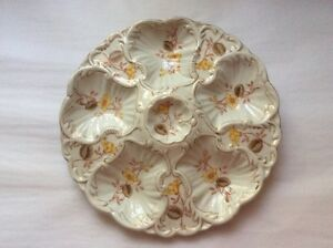 Antique Oyster Plate w/ Gold c.1890
