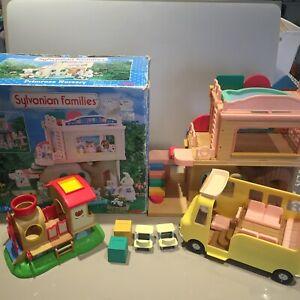 Sylvanian Families Primrose Nursery and Bus Bundle Train Playsets Vintage
