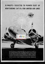 UNITED AIR LINES BOEING 247-D'S WITH H-WASPS ENGINES PRATT & WHITNEY AD