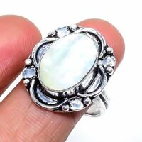 Mother Of Pearl Gemstone Handmade 925 Sterling Silver Jewelry Ring Size 7.5
