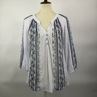 Anthropologie Fig and Flower Boho Tunic Size M White Blue Floral Striped Top