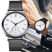 Trendy Luxury Men Thin Minimalist Watch Slim Mesh Stainless Steel Strap Quartz