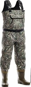 Foxelli Fishing Waders with Boots, 100% Waterproof, Camo, Size 10